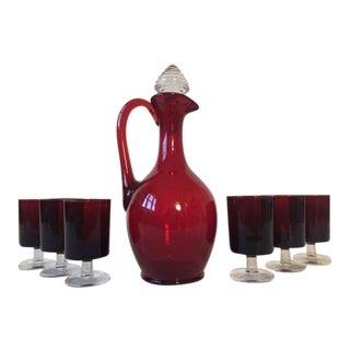Mid-Century French Decanter & Wine Glasses - Set of 6 For Sale