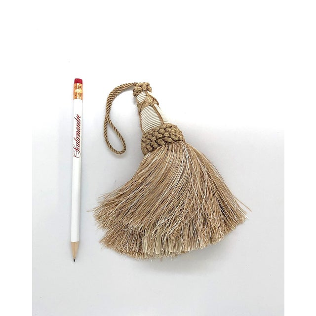 Tan and White Key Tassel With Looped Ruche Trim For Sale - Image 4 of 10