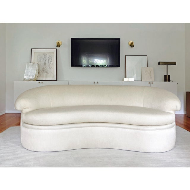 This is a gorgeous, beautifully made Milo Baughman for Thayer Coggin 1980s kidney curved sofa. Exquisitely made in the...