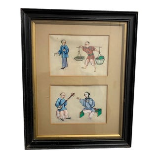 Framed Fine 19th Century Antique Color Pith Paintings on Rice Paper For Sale