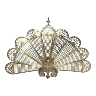 Brass Fan Screen with a Decorative Finial, 19th Century For Sale