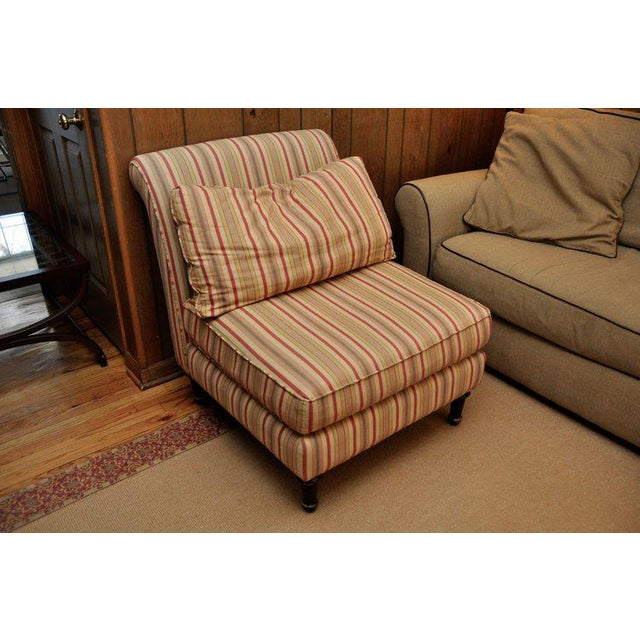 Traditional Lillian August Striped Slipper Chair For Sale - Image 3 of 6