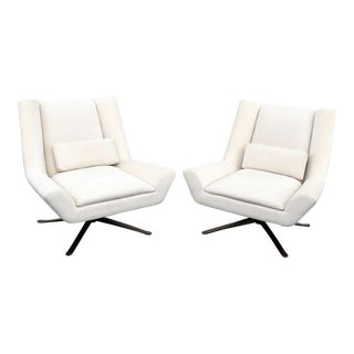 Early 21st Century Vintage Restoration Hardware Luke Swivel Chairs- A Pair For Sale