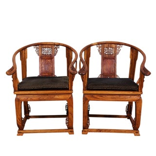 1900s Chinese Horseshoe Back Armchairs - a Pair