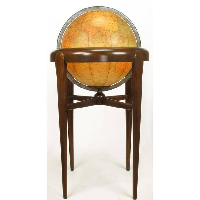 Replogle Illuminated Glass Globe on Mahogany Articulated Stand, circa 1940s - Image 3 of 10