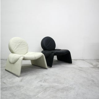 Pair of Black and White Vintage Leather Italian Lounge Chairs Preview