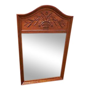 Ethan Allen Country French Craved Trumeau Mirror For Sale