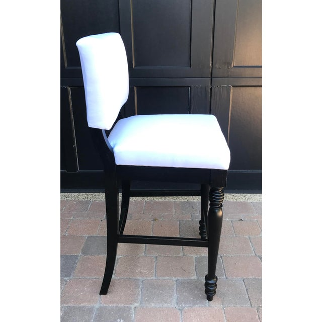 Wood Black Oak Counterstool With Carolina Irving Patmos Stripe Reverse Slipcovers - Set of 4 For Sale - Image 7 of 13