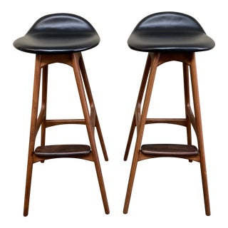 Mid 20th Century Domus & Danica Teak + Rosewood + Leather Barstools, a Pair For Sale