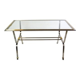 Italian Stainless Steel and Brass Desk Table For Sale