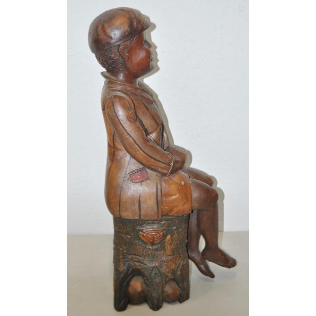 19th Century American Folk Art Hand Carved Seated Boy - Image 4 of 5