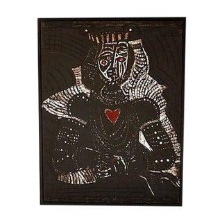 Santos Cortes Black Queen of Hearts Print For Sale