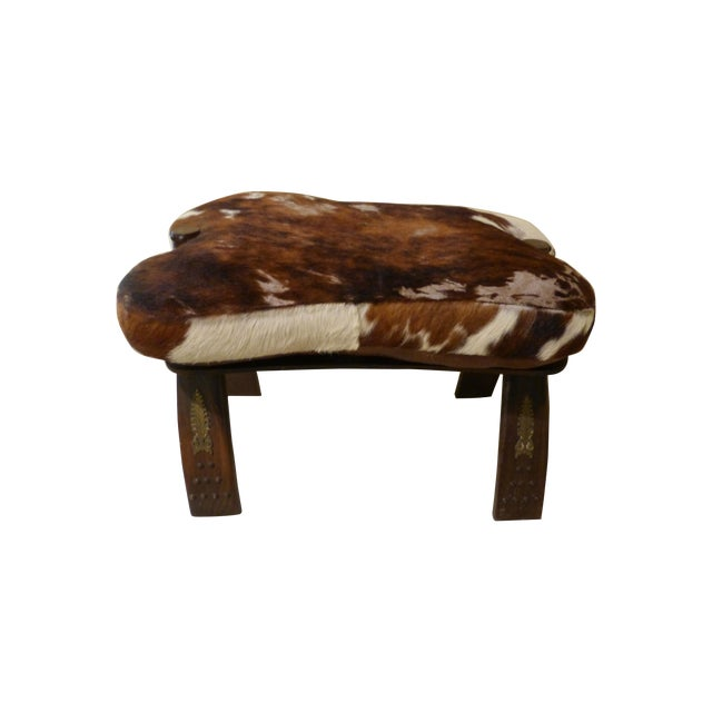 Antique Camel Saddle Stool With Cowhide Cover - Image 1 of 9