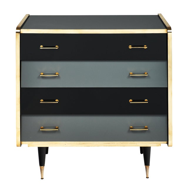 Italian Vintage Glass Covered Chest of Drawers For Sale