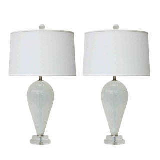 Joe Cariati Hand Blown Glass Table Lamps White For Sale