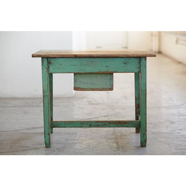 Primitive 19th Century Primitive Painted Dough Farm Table with Large Drawer For Sale - Image 3 of 9