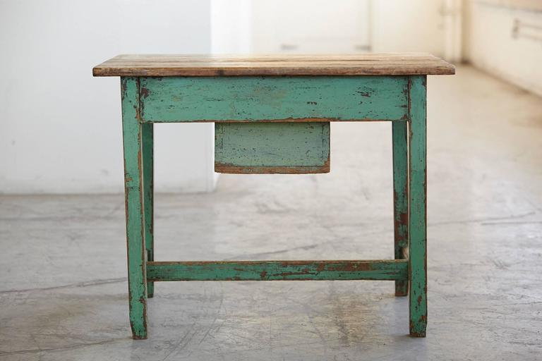 Primitive 19th Century Primitive Painted Dough Farm Table With Large Drawer  For Sale   Image 3