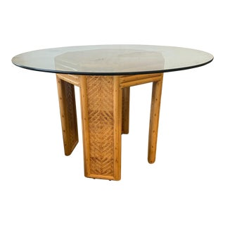 Vintage Woven Rattan Pedestal Dining Table For Sale