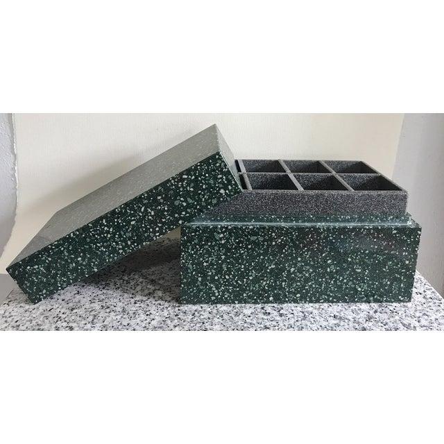 Post Modern Green Jesmonite Terrazzo Stone Jewelry Box For Sale - Image 4 of 10
