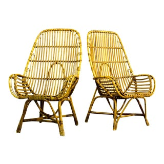 Pair of Mid-Century Danish Dutch Design Rattan High Back Easy Lounge Armchairs after Viggo Boesen / Rohe, 1960s