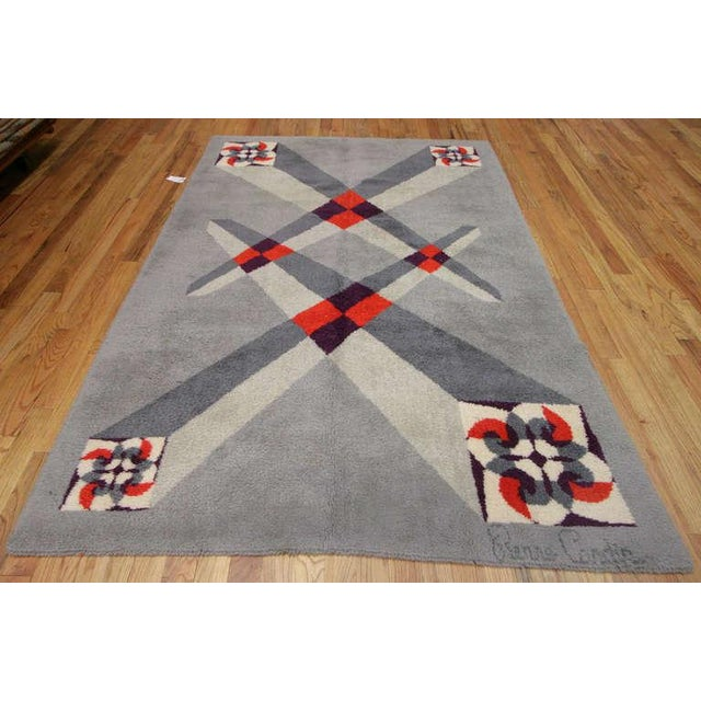 Textile Vintage French Art Deco Carpet by Pierre Cardin - 6′9″ × 9′2″ For Sale - Image 7 of 10