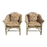 Image of Pair Vintage McGuire Mid Century Bamboo Rattan Zebra Print Accent Chairs #2 For Sale