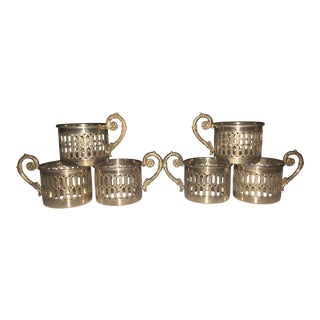 Vintage Italian Silver Plated Demitasse Espresso Cup Holders - Set of 6 For Sale