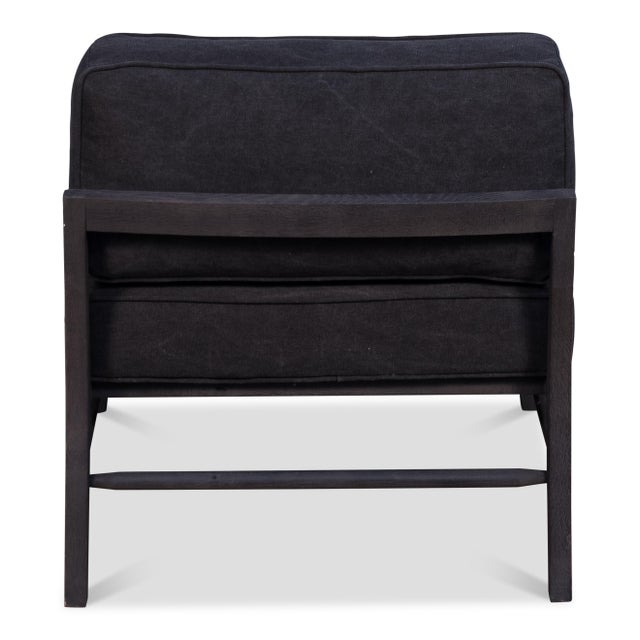 Contemporary Blackwell Mid-Century Black Upholstered Chair For Sale - Image 3 of 5