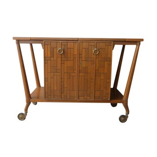 1950s Mid Century Modern Johnson Furniture Company Bar Cart For Sale
