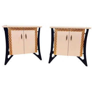 Pair of Hollywood Regency Style Parcel Paint Decorated Nightstands / End Tables For Sale