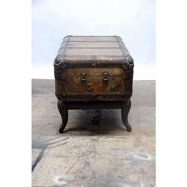 Industrial Early 20th Century Indestructo Trunk on Industrial Stand For Sale - Image 3 of 8
