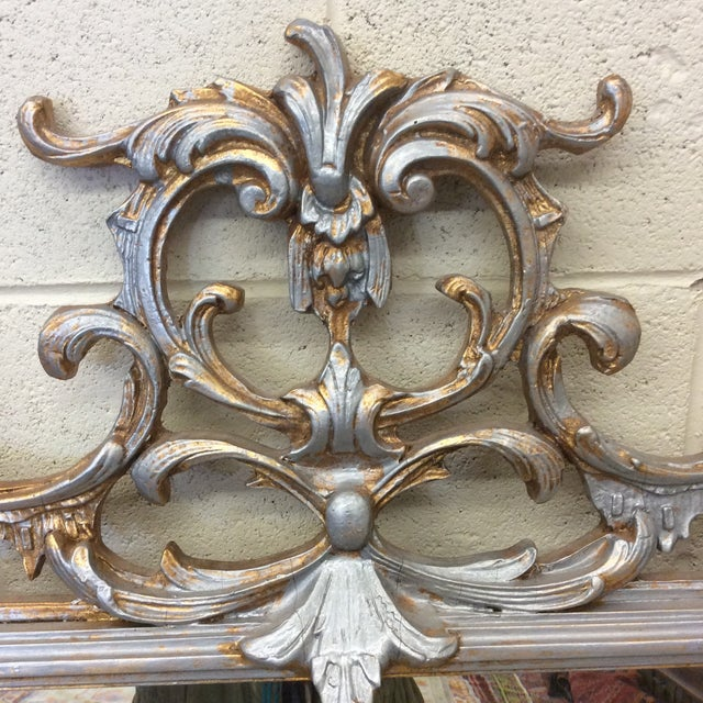 Large Silver and Gold Leaf Mirror For Sale - Image 4 of 13