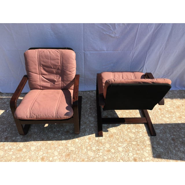 Blush Mid-Century Bentwood Leather Chairs - A Pair - Image 3 of 10