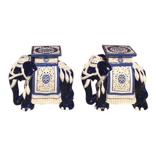 Vintage Oriental Ceramic Elephant Side Tables - a Pair For Sale