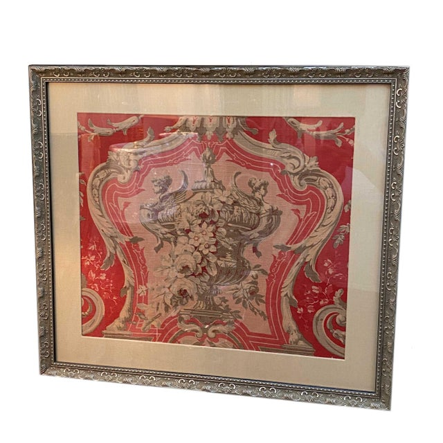 Textile Vintage French Framed Fabric For Sale - Image 7 of 7