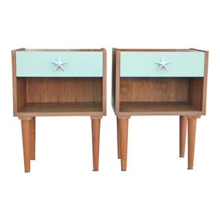Mid-Century Modern Inspired Teal Drawer Walnut Night Stands - a Pair For Sale