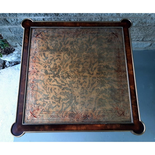 Metal Theodore Alexander Eglomise Walnut End Lamp Table With Lower Shelf, Glass and Brass Accents For Sale - Image 7 of 13