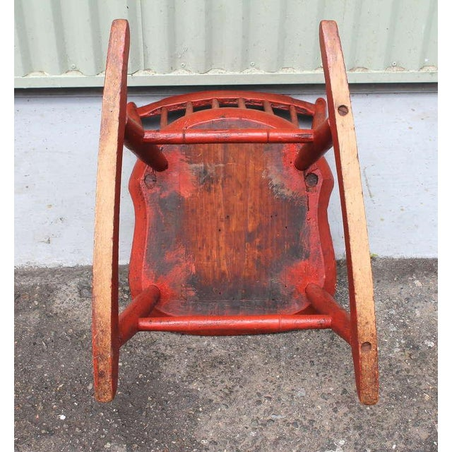 19th Century Original Salmon Painted Windsor Rocking Chair For Sale - Image 4 of 8