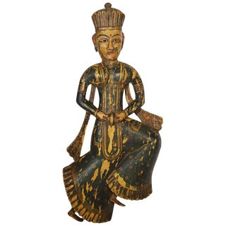 Antique Indonesian Hand-Carved and Hand-Painted Temple Statue, 18th Century For Sale