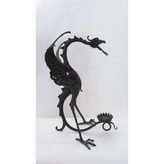 Vintage Sculpted Bronze Dragon Candleholder Preview