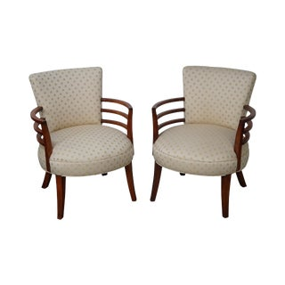Mid-Century Modern Rounded Robsjohn Gibbings Style Arm Chairs - A Pair For Sale