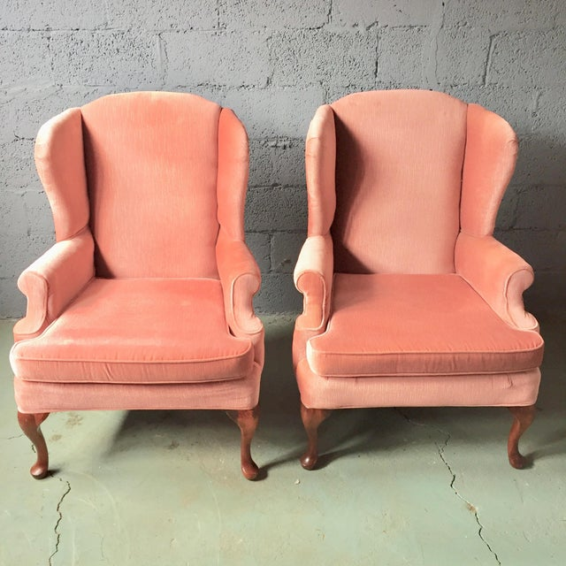 Pink Wingback Armchairs - A Pair For Sale - Image 11 of 11