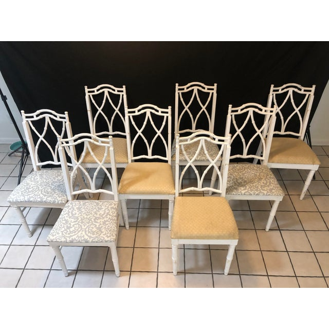 Thomasville Vintage Thomasville Faux Bamboo Chinoiserie Hollywood Regency Chairs - Set of 8 For Sale - Image 4 of 7