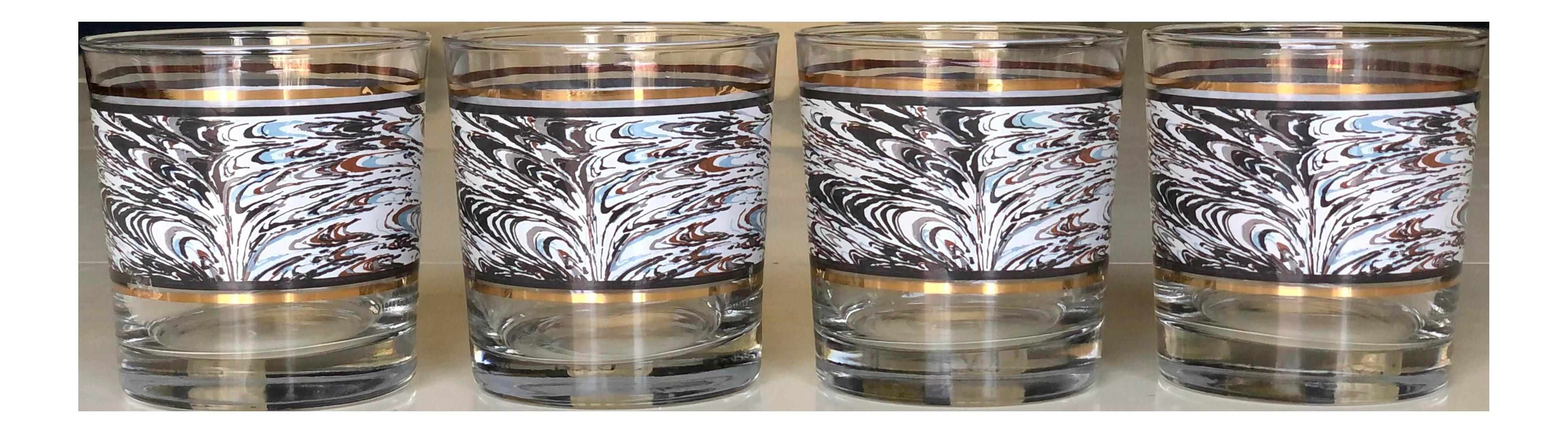 Set of 4 Vintage Anchor Hocking Stripe Rocks Juice Glasses