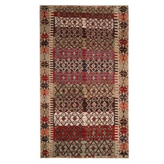 Vintage Mid-Century Malatya Geometric Green and Burgundy Red Wool Kilim Rug - 5′10″ × 10′3″ For Sale
