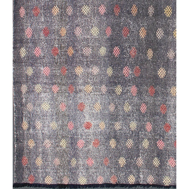 Modern Keivan Woven Arts,TU-Emd-3426, Vintage Turkish Kilim Flat Weave Rug- 6′6″ × 9′3″ For Sale - Image 3 of 5