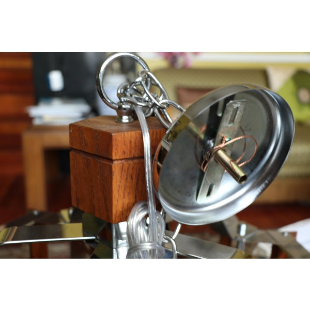 Fredrick Ramond Lighting Oak, Chrome and Glass Pendant Chandelier For Sale - Image 11 of 13