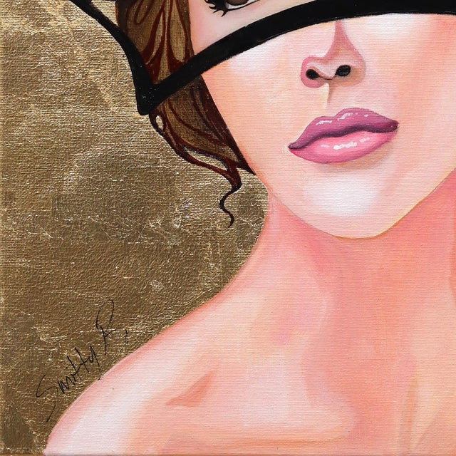 Contemporary ''Regal'' Contemporary Gold Leaf Mixed-Media Portrait Painting by Brian Smith For Sale - Image 3 of 10