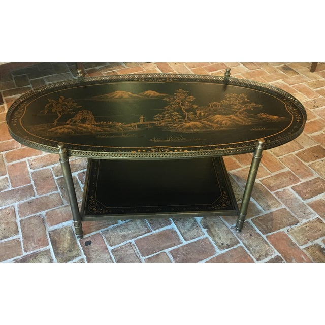Chinoiserie Oval Metal Cocktail Table For Sale - Image 12 of 12