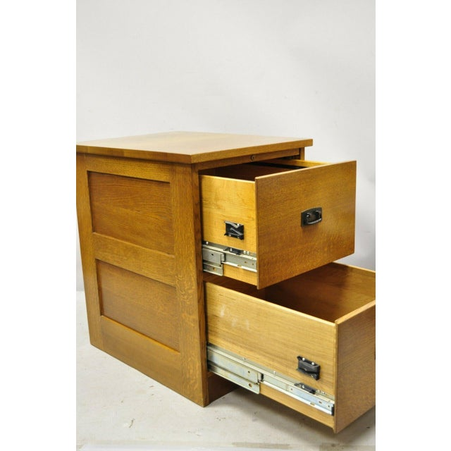 L&J G Stickley Arts & Crafts Mission Oak Wood Two Drawer Office File Cabinet. Item features solid wood frame, beautiful...
